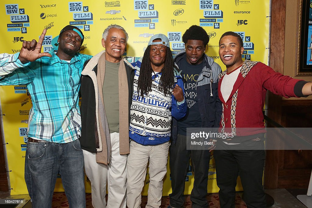 Actors Les 'DJ Upgrade' Aderibigbe, William Pulliam, Koran Streets, Stanley Hunt and Devon Libran pose in the greenroom at the screening of 'Licks' during the 2013 SXSW Music, Film + Interactive Festival at Alamo Ritz on March 9, 2013 in Austin, Texas.