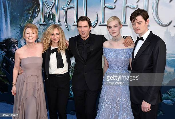 Actors Lesley Manville Juno Temple Sharlto Copley Elle Fanning and Sam Riley attend the World Premiere of Disney's 'Maleficent' at the El Capitan...