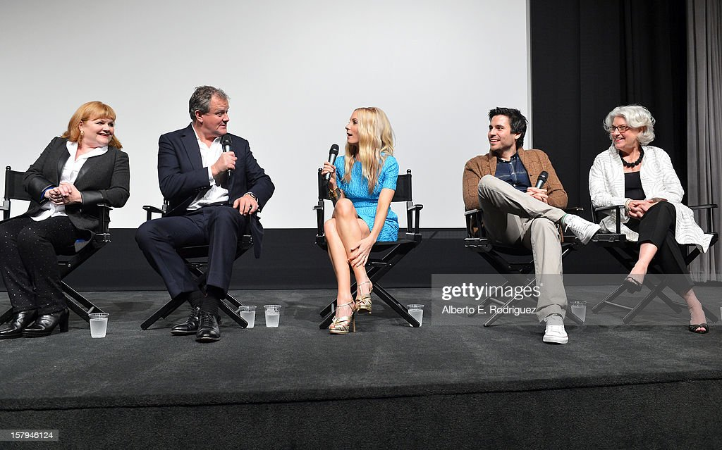 Actors Lesley Nicol, Hugh Bonneville, Joanne Froggatt, Rob James-Collier and executive producer, Masterpiece, Rebecca Eaton participate in the Q&A session as part of The Hollywood Reporter screening of PBS Masterpiece's 'Downton Abbey' Season 3 on December 7, 2012 in West Hollywood, California.
