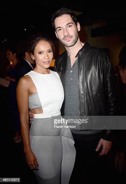 Actors LesleyAnn Brandt and Tom Ellis attend Cosmopolitan's 50th Birthday Celebration at Ysabel on October 12 2015 in West Hollywood California