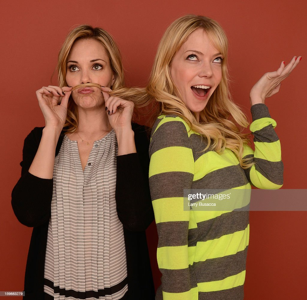 Actors Leslie Bibb (L) and Riki Lindhome pose for a portrait during the 2013 Sundance Film Festival at the Getty Images Portrait Studio at Village at the Lift on January 21, 2013 in Park City, Utah.