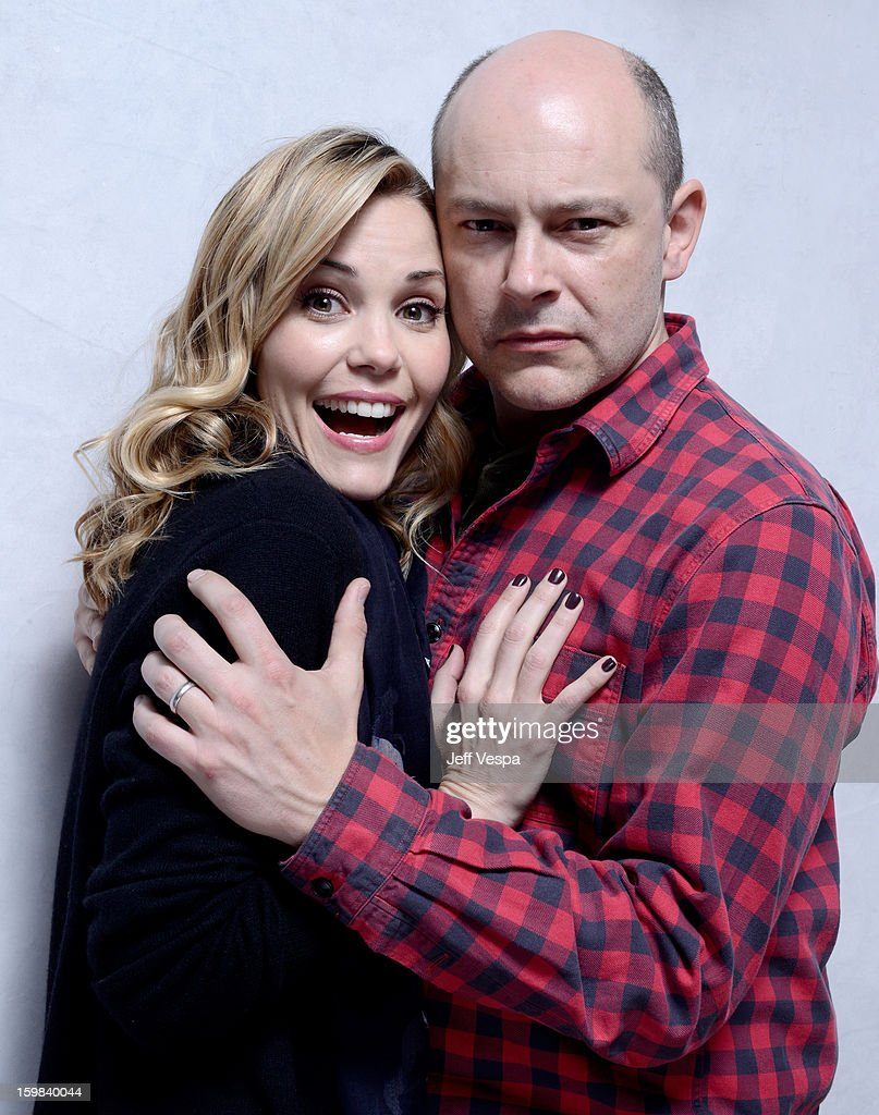 Actors Leslie Bibb (L) and Rob Corddry pose for a portrait during the 2013 Sundance Film Festival at the WireImage Portrait Studio at Village At The Lift on January 21 2013 in Park City, Utah.