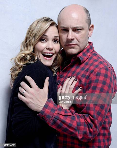 Actors Leslie Bibb and Rob Corddry pose for a portrait during the 2013 Sundance Film Festival at the WireImage Portrait Studio at Village At The Lift...