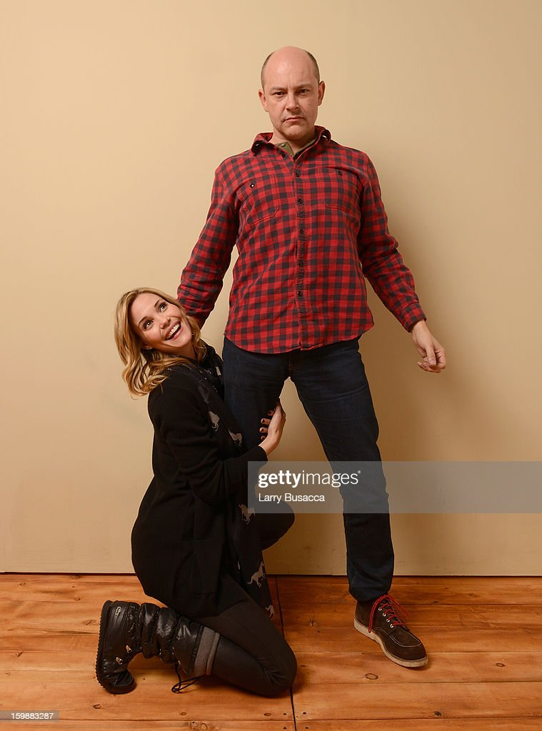 Actors Leslie Bibb (L) and Rob Corddry pose for a portrait during the 2013 Sundance Film Festival at the Getty Images Portrait Studio at Village at the Lift on January 21, 2013 in Park City, Utah.