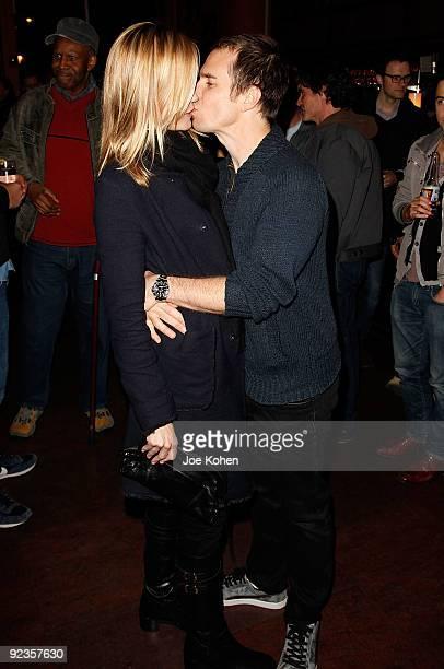 Actors Leslie Bibb and Sam Rockwell attend the screening of 'Gentlemen Broncos' at Tribeca Cinemas on October 26 2009 in New York City