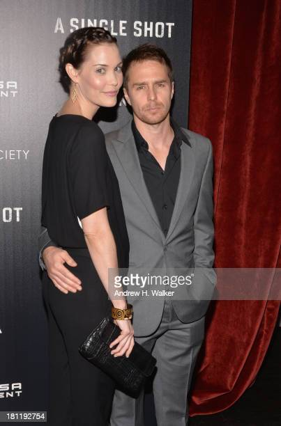 Actors Leslie Bibb and Sam Rockwell attend the Tribeca Film and The Cinema Society screening of 'A Single Shot' held at the Tribeca Grand Hotel on...