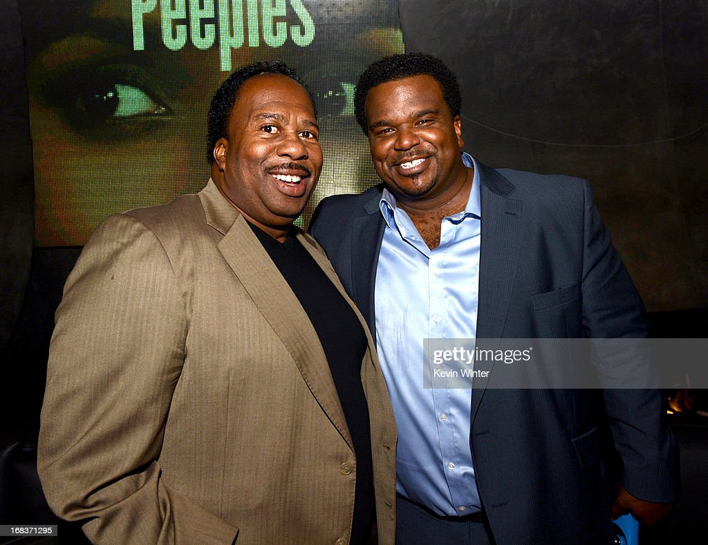 Actors <a gi-track='captionPersonalityLinkClicked' href=/galleries/search?phrase=Leslie+David+Baker&family=editorial&specificpeople=841061 ng-click='$event.stopPropagation()'>Leslie David Baker</a> (L) and Craig Robinson pose at the after party for the premiere of Lionsgate Films and Tyler Perry's 'Peeples' at Lure on May 8, 2013 in Los Angeles, California.