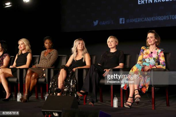Actors Leslie Grossman Adina Porter Billie Lourd Alison Pill and Sarah Paulson of 'American Horror Story Cult' speak onstage during the FX portion of...