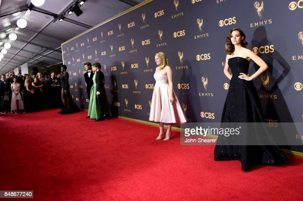 Actors Leslie Jones Charlie Heaton Natalia Dyer Joe Keery Elisabeth Moss and Emmy Rossum attend the 69th Annual Primetime Emmy Awards at Microsoft...