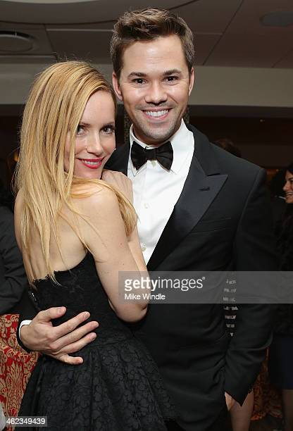 Actors Leslie Mann and Andrew Rannells attend HBO's Post 2014 Golden Globe Awards Party at Circa 55 Restaurant on January 12 2014 in Los Angeles...