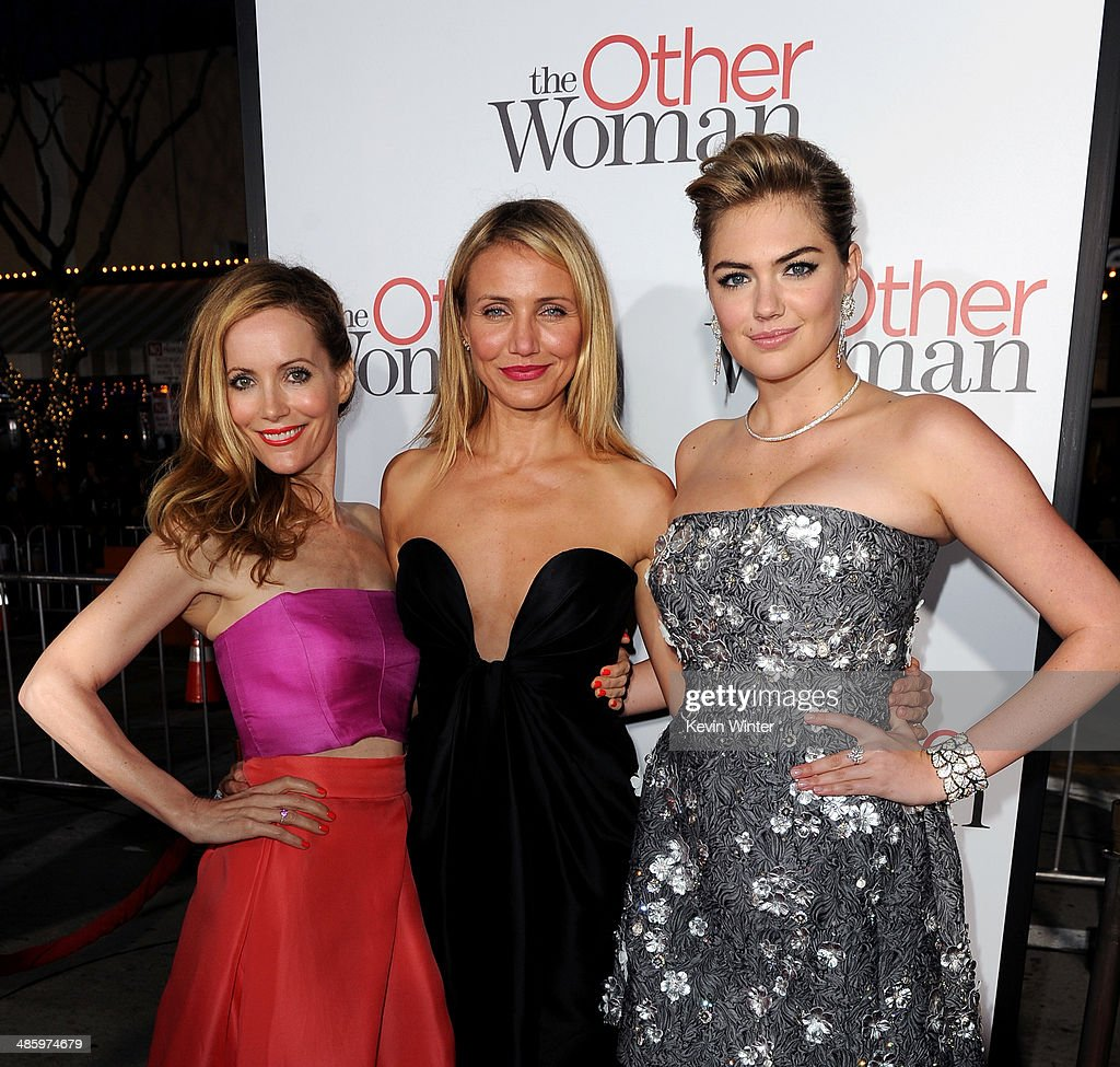 Actors <a gi-track='captionPersonalityLinkClicked' href=/galleries/search?phrase=Leslie+Mann&family=editorial&specificpeople=595973 ng-click='$event.stopPropagation()'>Leslie Mann</a>, <a gi-track='captionPersonalityLinkClicked' href=/galleries/search?phrase=Cameron+Diaz&family=editorial&specificpeople=201892 ng-click='$event.stopPropagation()'>Cameron Diaz</a> and <a gi-track='captionPersonalityLinkClicked' href=/galleries/search?phrase=Kate+Upton&family=editorial&specificpeople=7488546 ng-click='$event.stopPropagation()'>Kate Upton</a> attend the premiere of Twentieth Century Fox's 'The Other Woman' at Regency Village Theatre on April 21, 2014 in Westwood, California.
