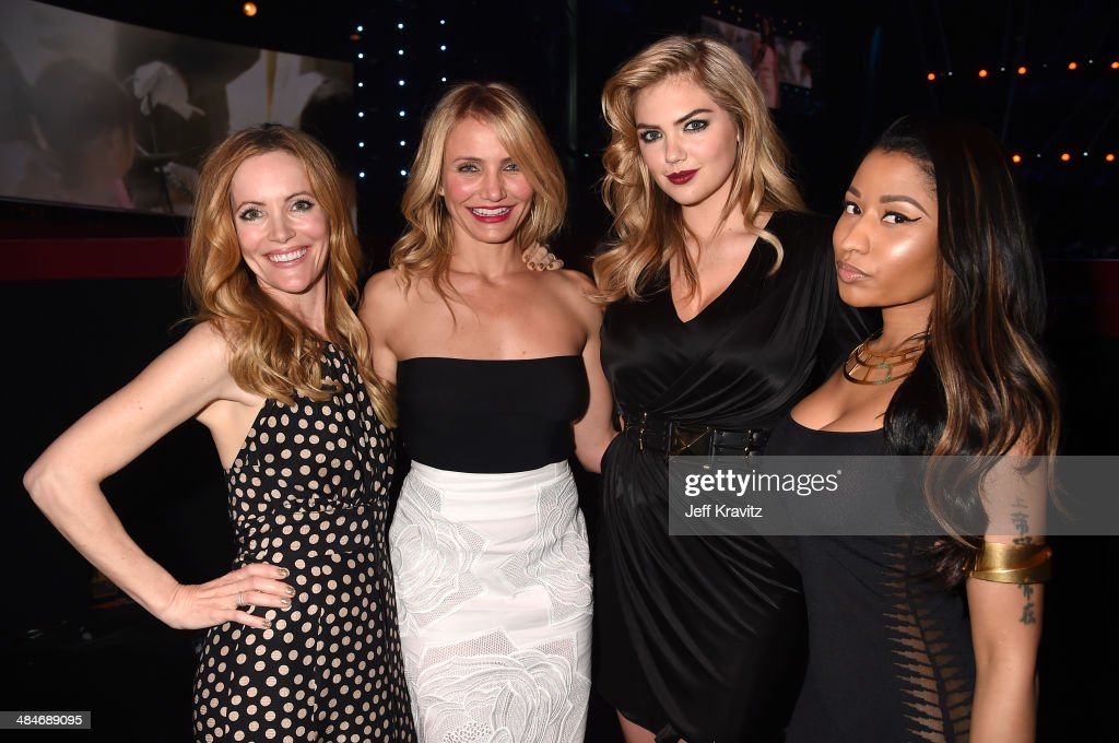 Actors <a gi-track='captionPersonalityLinkClicked' href=/galleries/search?phrase=Leslie+Mann&family=editorial&specificpeople=595973 ng-click='$event.stopPropagation()'>Leslie Mann</a>, <a gi-track='captionPersonalityLinkClicked' href=/galleries/search?phrase=Cameron+Diaz&family=editorial&specificpeople=201892 ng-click='$event.stopPropagation()'>Cameron Diaz</a>, model <a gi-track='captionPersonalityLinkClicked' href=/galleries/search?phrase=Kate+Upton&family=editorial&specificpeople=7488546 ng-click='$event.stopPropagation()'>Kate Upton</a>, and recording artist <a gi-track='captionPersonalityLinkClicked' href=/galleries/search?phrase=Nicki+Minaj+-+Performer&family=editorial&specificpeople=6362705 ng-click='$event.stopPropagation()'>Nicki Minaj</a> speak attend the 2014 MTV Movie Awards at Nokia Theatre L.A. Live on April 13, 2014 in Los Angeles, California.