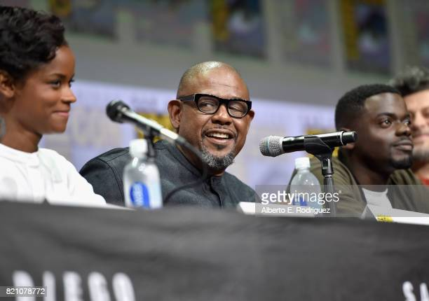 Actors Letitia Wright Forest Whitaker and Daniel Kaluuya from Marvel Studios' 'Black Panther' at the San Diego ComicCon International 2017 Marvel...
