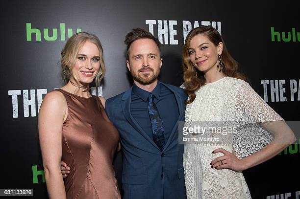 Actors Leven Rambin Aaron Paul and Michelle Monaghan attend the premiere of Hulu's 'The Path' Season 2 at Sundance Sunset Cinema on January 19 2017...
