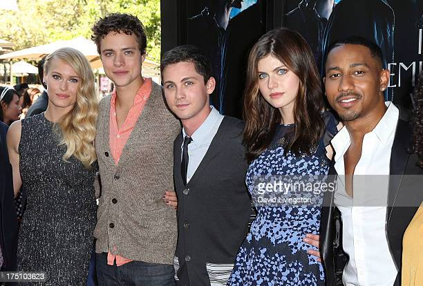 Actors Leven Rambin Douglas Smith Logan Lerman Alexandra Daddario and Brandon T Jackson attend a screening of Twentieth Century Fox and Fox 2000's...
