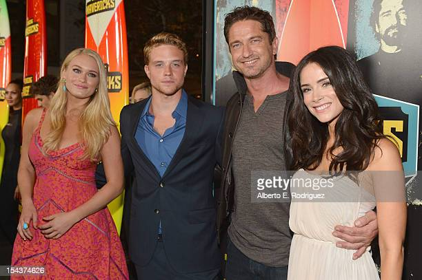 Actors Leven Rambin Jonny Weston Gerard Butler and Abigail Spencer arrive to the premiere of 20th Century Fox's 'Chasing Mavericks' on October 18...