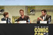 Actors Levi Miller Garrett Hedlund and Hugh Jackman from 'Pan' attend the Warner Bros presentation during ComicCon International 2015 at the San...