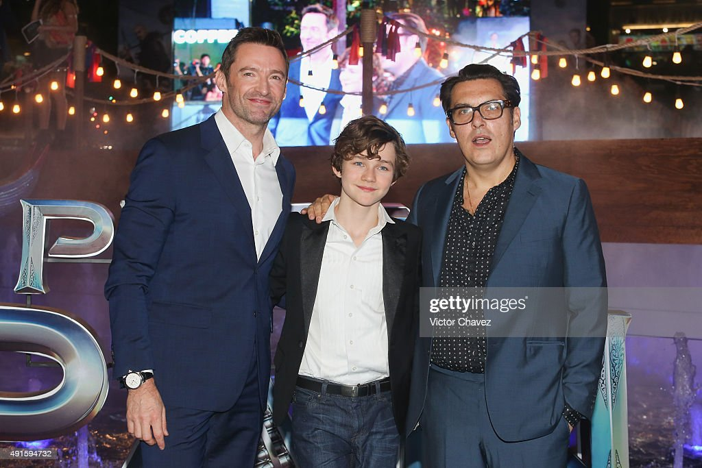 Actors <a gi-track='captionPersonalityLinkClicked' href=/galleries/search?phrase=Levi+Miller+-+Actor&family=editorial&specificpeople=15094584 ng-click='$event.stopPropagation()'>Levi Miller</a>, <a gi-track='captionPersonalityLinkClicked' href=/galleries/search?phrase=Hugh+Jackman&family=editorial&specificpeople=202499 ng-click='$event.stopPropagation()'>Hugh Jackman</a> and film director <a gi-track='captionPersonalityLinkClicked' href=/galleries/search?phrase=Joe+Wright+-+Director&family=editorial&specificpeople=771298 ng-click='$event.stopPropagation()'>Joe Wright</a> attend the 'Pan' Mexico City premiere at Parque Toreo on October 6, 2015 in Mexico City, Mexico.