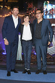Actors Levi Miller Hugh Jackman and film director Joe Wright attend the 'Pan' Mexico City premiere at Parque Toreo on October 6 2015 in Mexico City...