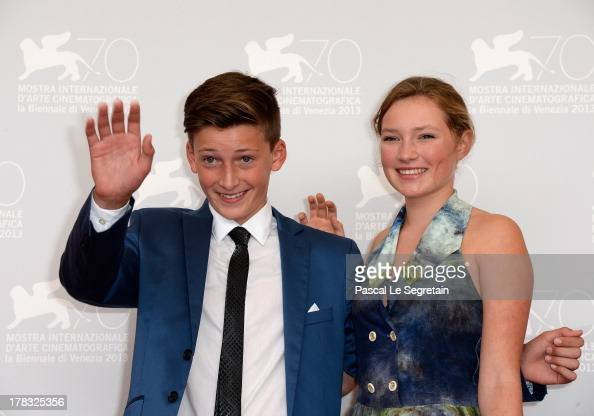 Actors Levin Liam and Helena Phil attend Wolfschildren Photocall during The 70th Venice International Film Festivalon August 29 2013 in Venice Italy