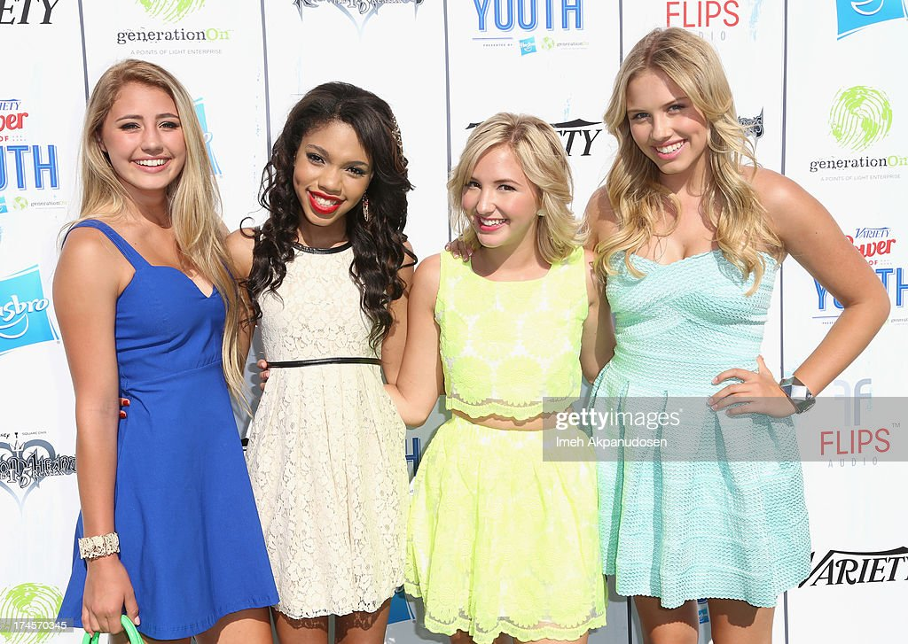 Actors Lia Marie Johnson, <a gi-track='captionPersonalityLinkClicked' href=/galleries/search?phrase=Teala+Dunn&family=editorial&specificpeople=7399540 ng-click='$event.stopPropagation()'>Teala Dunn</a>, Audrey Whitby, and <a gi-track='captionPersonalityLinkClicked' href=/galleries/search?phrase=Gracie+Dzienny&family=editorial&specificpeople=7496505 ng-click='$event.stopPropagation()'>Gracie Dzienny</a> attend Variety's Power of Youth presented by Hasbro, Inc. and generationOn at Universal Studios Backlot on July 27, 2013 in Universal City, California.