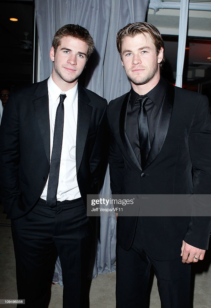 Actors <a gi-track='captionPersonalityLinkClicked' href=/galleries/search?phrase=Liam+Hemsworth&family=editorial&specificpeople=6338547 ng-click='$event.stopPropagation()'>Liam Hemsworth</a> and <a gi-track='captionPersonalityLinkClicked' href=/galleries/search?phrase=Chris+Hemsworth&family=editorial&specificpeople=646776 ng-click='$event.stopPropagation()'>Chris Hemsworth</a> attend the 2011 Vanity Fair Oscar Party Hosted by Graydon Carter at the Sunset Tower Hotel on February 27, 2011 in West Hollywood, California.
