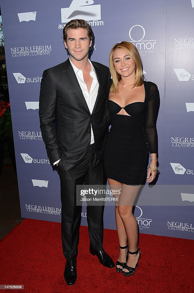 Actors Liam Hemsworth and Miley Cyrus arrive at Australians In Film Awards & Benefit Dinner at InterContinental Hotel on June 27, 2012 in Century City, California.