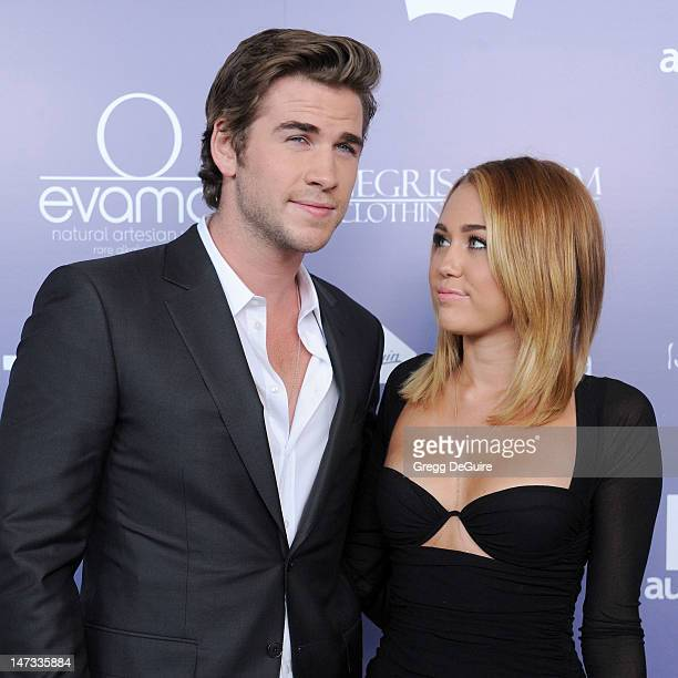 Actors Liam Hemsworth and Miley Cyrus arrive at the 8th Annual Australians In Film Breakthrough Awards at InterContinental Hotel on June 27 2012 in...