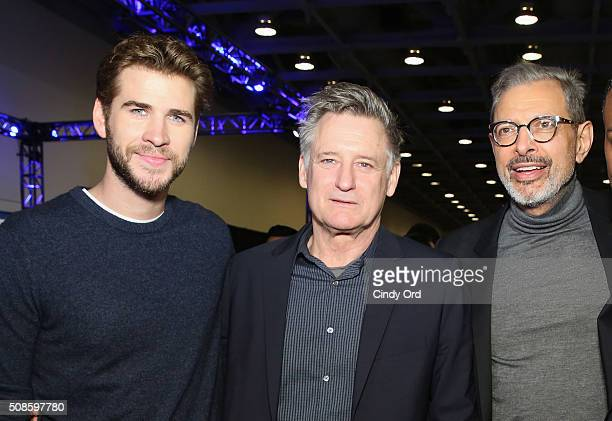 Actors Liam Hemsworth Bill Pullman and Jeff Goldblum visit the SiriusXM set at Super Bowl 50 Radio Row at the Moscone Center on February 5 2016 in...