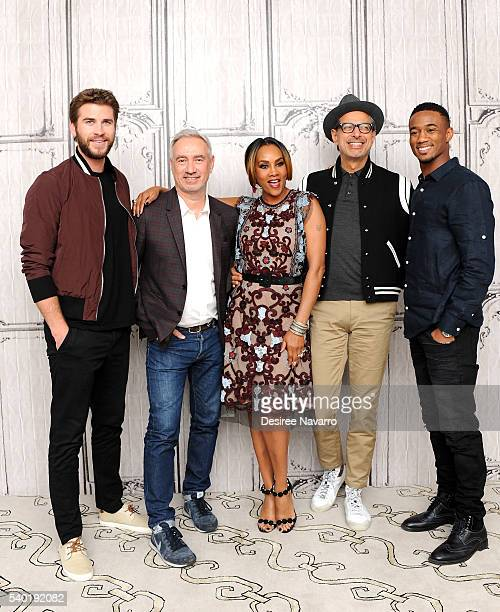 Actors Liam Hemsworth director Roland Emmerich Vivica Fox Jeff Goldblum and Jessie T Usher attend AOL Build Speaker Series 'Independence Day...
