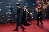 Actors Liam Hemsworth Jennifer Lawrence and Josh Hutcherson attend 'The Hunger Games Mockingjay Part 2' premiere at the Kinepolis Cinema on November...