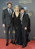 Actors Liam Hemsworth Jennifer Lawrence and Josh Hutcherson attend 'The Hunger Games Mockingjay Part 2' Madrid Premiere at Kinepolis Cinema on...