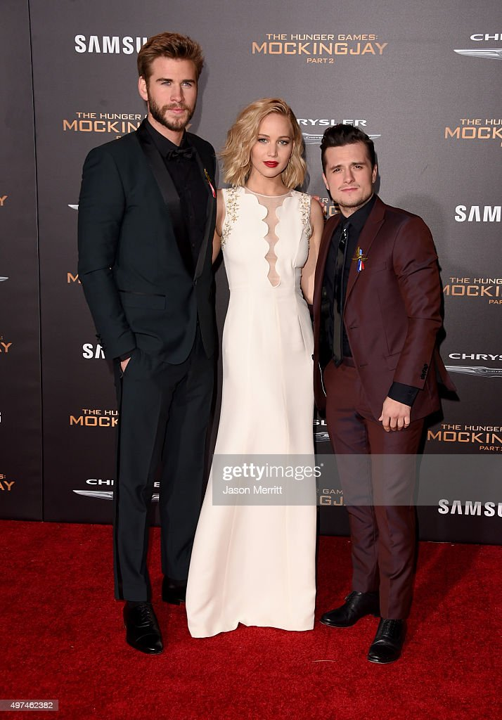 Actors Liam Hemsworth, Jennifer Lawrence, and Josh Hutcherson attend the premiere of Lionsgate's 'The Hunger Games: Mockingjay - Part 2' at Microsoft Theater on November 16, 2015 in Los Angeles, California.