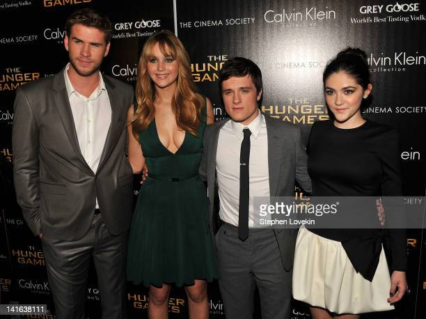 Actors Liam Hemsworth Jennifer Lawrence Josh Hutcherson and Isabelle Fuhrman attend the Cinema Society Calvin Klein Collection screening of 'The...