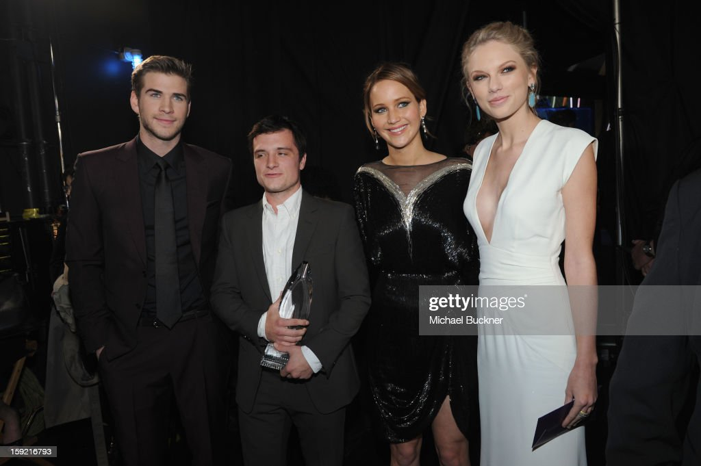 Actors Liam Hemsworth, Josh Hutcherson and Jennifer Lawrence and singer Taylor Swift attend the 39th Annual People's Choice Awards at Nokia Theatre L.A. Live on January 9, 2013 in Los Angeles, California.