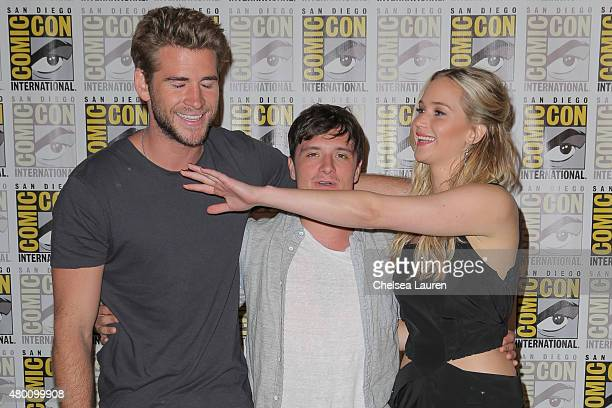 Actors Liam Hemsworth Josh Hutcherson and Jennifer Lawrence attend ComicCon International on July 9 2015 in San Diego California
