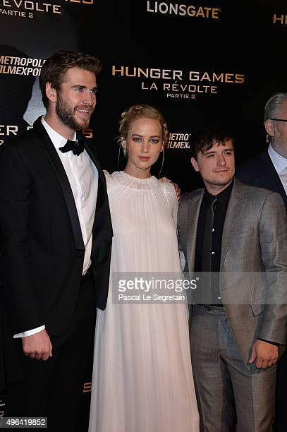 Actors Liam HemsworthJennifer Lawrence and Josh Hutcherson attend The Hunger Games Mockingjay Part 2 Premiere at Le Grand Rex on November 9 2015 in...