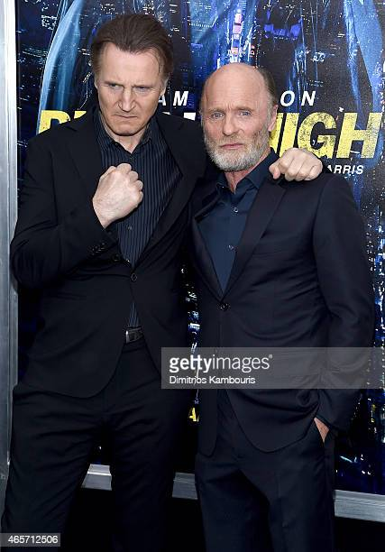 Actors Liam Neeson and Ed Harris attend the 'Run All Night' New York Premiere at AMC Lincoln Square Theater on March 9 2015 in New York City