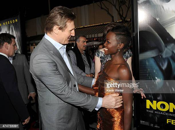 Actors Liam Neeson and Lupita Nyong'o attend the premiere of Universal Pictures and Studiocanal's 'NonStop' at Regency Village Theatre on February 24...