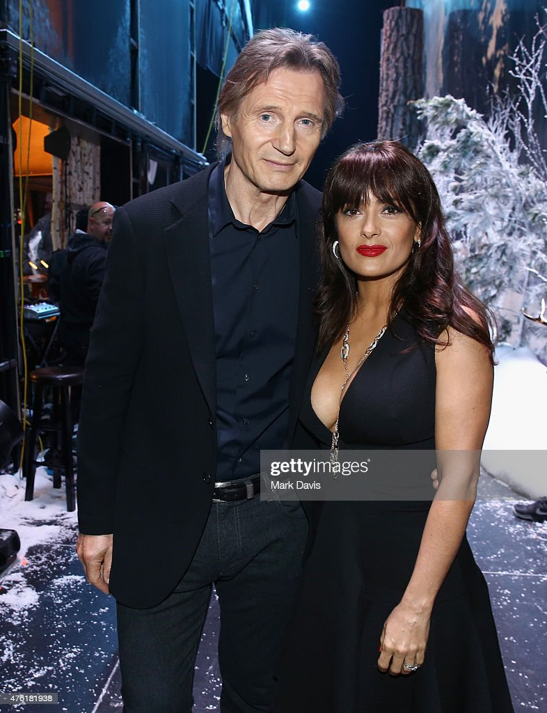 Actors Liam Neeson and Salma Hayek attend Spike TV's Guys Choice 2015 at Sony Pictures Studios on June 6 2015 in Culver City California