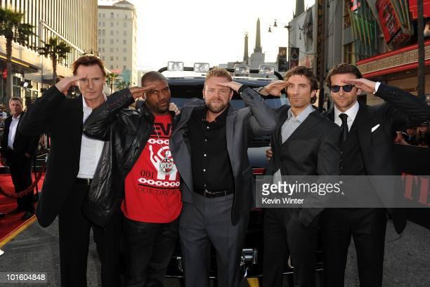 Actors Liam Neeson Quinton 'Rampage' Jackson director Joe Carnahan actors Sharlto Copley and Bradley Cooper arrive at the premiere of 20th Century...