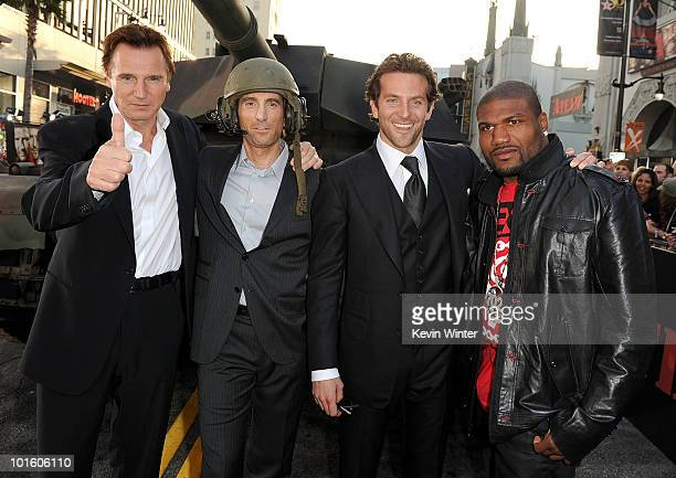Actors Liam Neeson Quinton 'Rampage' Jackson Sharlto Copley and Bradley Cooper arrive at the premiere of 20th Century Fox's 'The ATeam' held at...
