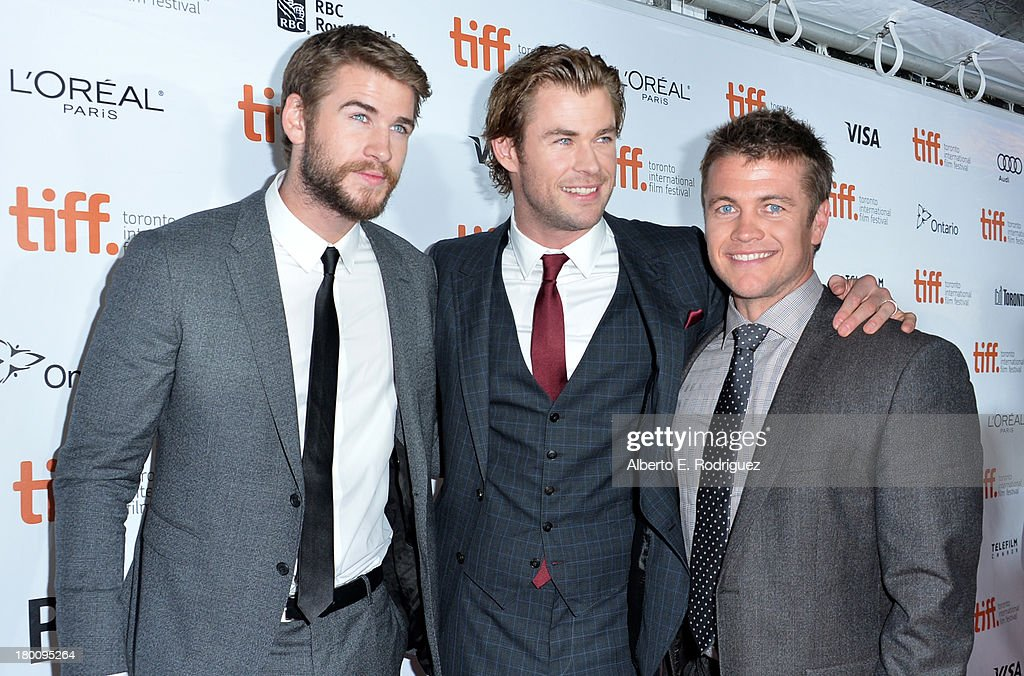 Actors Liam,Chris and Luke Hemsworth attend the 'Rush' premiere during the 2013 Toronto International Film Festival at Roy Thomson Hall on September 8, 2013 in Toronto, Canada.