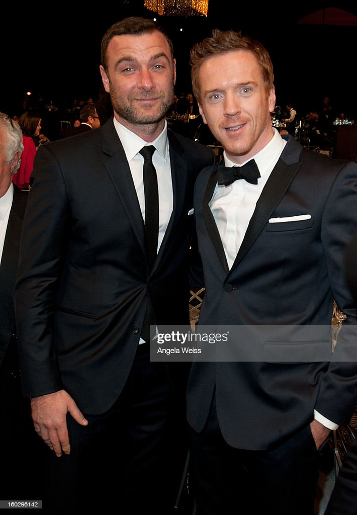 Actors <a gi-track='captionPersonalityLinkClicked' href=/galleries/search?phrase=Liev+Schreiber&family=editorial&specificpeople=203259 ng-click='$event.stopPropagation()'>Liev Schreiber</a> and <a gi-track='captionPersonalityLinkClicked' href=/galleries/search?phrase=Damian+Lewis&family=editorial&specificpeople=206939 ng-click='$event.stopPropagation()'>Damian Lewis</a> attend the 19th Annual Screen Actors Guild Awards at The Shrine Auditorium on January 27, 2013 in Los Angeles, California.