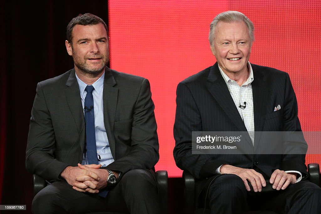 Actors <a gi-track='captionPersonalityLinkClicked' href=/galleries/search?phrase=Liev+Schreiber&family=editorial&specificpeople=203259 ng-click='$event.stopPropagation()'>Liev Schreiber</a> and <a gi-track='captionPersonalityLinkClicked' href=/galleries/search?phrase=Jon+Voight&family=editorial&specificpeople=202872 ng-click='$event.stopPropagation()'>Jon Voight</a> of 'Ray Donovan' speak onstage during the Showtime portion of the 2013 Winter TCA Tour at Langham Hotel on January 12, 2013 in Pasadena, California.