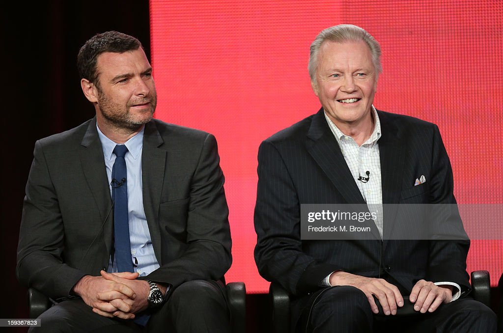 Actors Liev Schreiber and Jon Voight of 'Ray Donovan' speak onstage during the Showtime portion of the 2013 Winter TCA Tour at Langham Hotel on January 12, 2013 in Pasadena, California.