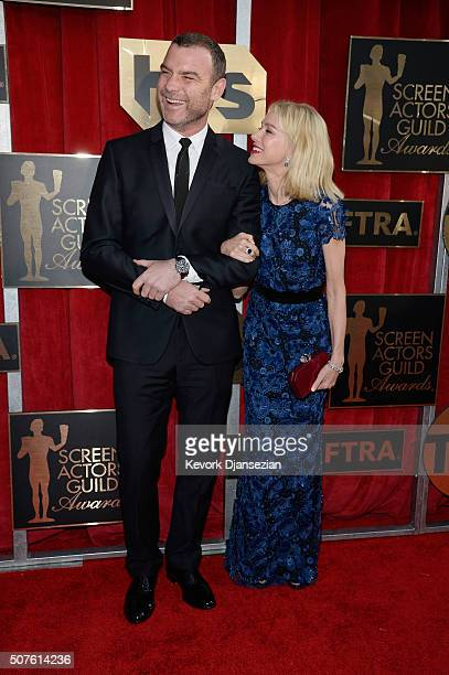 Actors Liev Schreiber and Naomi Watts attend the 22nd Annual Screen Actors Guild Awards at The Shrine Auditorium on January 30 2016 in Los Angeles...