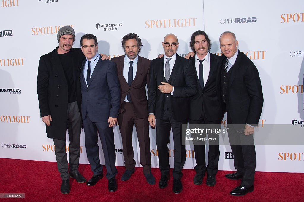 Actors Liev Schreiber, Brian d'Arcy James, Mark Ruffalo, Stanley Tucci, Billy Crudup and Michael Keaton attend the 'Spotlight' New York premiere at Ziegfeld Theater on October 27, 2015 in New York City.