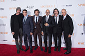 Actors Liev Schreiber Brian d'Arcy James Mark Ruffalo Stanley Tucci Billy Crudup and Michael Keaton attend the 'Spotlight' New York premiere at...