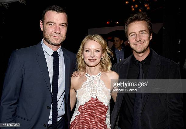 Actors Liev Schreiber Naomi Watts and Edward Norton attend Audi celebrates Golden Globes Week 2015 at Cecconi's Restaurant on January 8 2015 in Los...